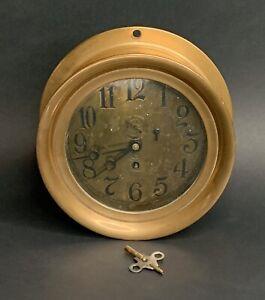 Antique ASHCROFT Ship Clock New York Brass Copper/  Functional Clock! #240