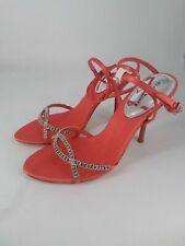 Karen Millen Coral pink diamanté strappy leather/textile  sandals, Size 38, UK5