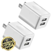 Charger, Tricon 2-Pack 2.1Amp Dual Port USB Plug Power Adapter Charging Cube ...