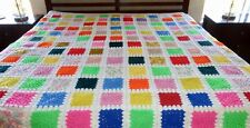 """Vintage LARGE Granny Square Afghan 78"""" x 102"""" Bright Colors Queen King BEAUTIFUL"""