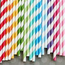 25 Retro Stripe Dot Love Heart Vintage Paper Drinking Straws Birthday Wedding UK