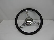 """14""""  Banjo Style Steering Wheel With Half Wrap Black Leather/adapter/horn Button"""