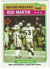 ROD MARTIN 1981 Topps Record Breaker Super Bowl #334 NM-MT NFL Oakland Raiders