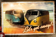Volkswagen Camper Bus Vans on California Beach Classic Postcard-Style POSTER