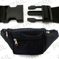 BUM BAG WITH 4 ZIPPED POCKETS Safe Money BLACK Waist Belt Wallet Holiday Travel