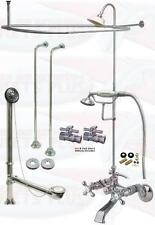 Chrome Tub Mount Clawfoot Faucet Kit W/Shower Riser Enclosure, Drain & Supplies