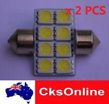 2x 31mm 8 5050 SMD LED INTERIOR DOME FESTOON LIGHT WHITE SUPER BRIGHT DC 12V