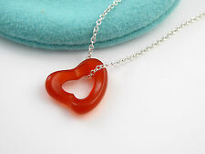 Tiffany & Co Silver MINT NEW Peretti Carnelian Gemstone Open Heart Necklace