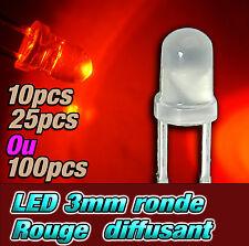 205D# LED 3mm ronde rouge diffusant dispo 10, 25, 100 ou 1000pcs - red LED 3mm