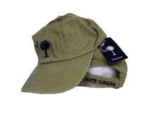 Embroidered olive khaki South Carolina SC Palmetto Crescent Washed Cap Hat (RUF)