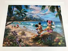 Thomas Kinkade Mickey & Minnie in Hawaii  Signed & Numbered Lithograph 18x 24