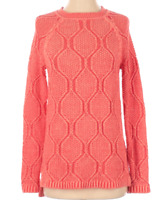 Lands' End Women's Coral Crew Neck Knit Sweater, Small 6-8