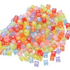 Clear Rainbow White Mixed Colors 500pcs Alphabet Acrylic Cube Beads 6X6mm USA
