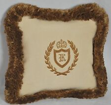 """Cream Faux Suede Personalized & Embroidered Custom Pillow 12"""" trim brush fringe"""