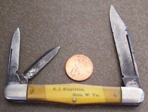 Vintage NOVELTY CUTLERY CO. CANTON O. Whittler POCKET KNIFE Singleton GEM W.V.