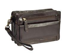 Gents Brown Leather Wrist Bag Clutch Grab Travel Cab Money Mobile Mens Handbag