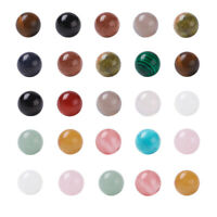 100Pcs 10mm Random Mixed Undrilled Polished Gemstone Round Spacer Loose Beads