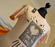 DIESEL BNWT T-SULLY XX T-Shirt Time To Love Peach Womens Sz. Sm Crew Neck SS