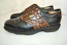 FootJoy DryJoys Golf Shoes 53729 Black Leather & Brown Crocodile Trim Men 11 M