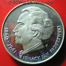 1975 POLAND 100 ZLOTYCH SILVER PROOF IGNACY PADEREWKSI POLISH COMPOSER 32mm