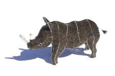 Beaded Lifelike Rhino Figurine by JNGcape, Wire Sculpture African Art Decoration