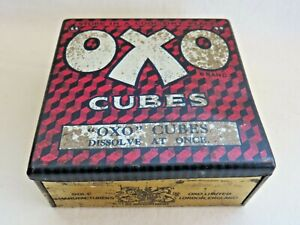 Vintage Empty OXO Tin. 50 OXO Cubes. Hinged Red Lid