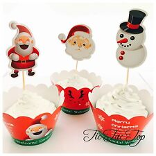12 Xmas Cupcake Topper + 12 Wrapper. Christmas Party Supplies Santa Snowman Tree