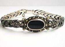925 Silber Armband punziert Onyx & Markasit Besatz im Stil des Art Deco 18,5 cm
