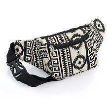 "Bum bag ❤BLACK CREAM AZTEC❤ woven-travel-fashion❤festival❤28 x 14 cm 42"" HIP"