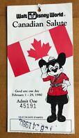 "1980 Walt Disney World ""Canadian Salute"" Ticket Stub"