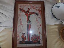 Styalised ,Christ on cross, painted on cloth, modern