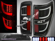 2009-2014 Ford F150 XL XLT STX FX4 Pickup G2 Tail Lights Black + 3rd Brake Light