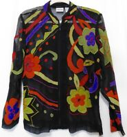 Chicos 0 Silk Applique Embroidered Top Blouse S Shirt Sheer Black Zip Front