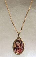 "La Virgen De Guadalupe Medalla Virgin Mary Pendant 14K Gold Plated 19"" Chain"