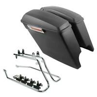5'' Stretched Hard Saddlebags + Conversion Bracket Fit For Harley Softail 84-16