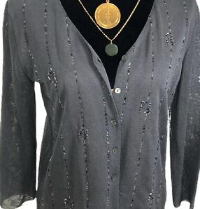 Fendi Authentic 90s Embellished FF Logo Cardigan Sweater Sheer Grey 42 US S/M