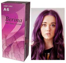 Berina Permanent Hair Dye Color Colour Cream # A6 Violet