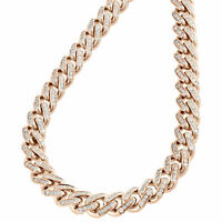 "10K Rose Gold Over Diamond Miami Cuban Chain 6.5mm Necklace Link 20"" Inches Mens"