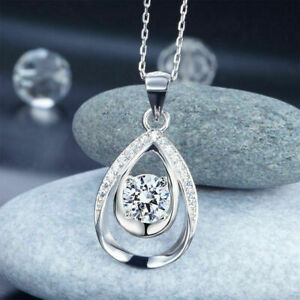 Tear Drop Engagement Pendant Without Chain 1.5Ct Round Moissanite 14K White Gold