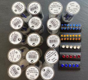 Job Lot Red, Blue, Clear, Orange 7mm & 4mm Sew On Gutermann Diamonte Rhinestones