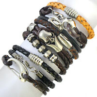 GENUINE LEATHER STEEL MENS / WOMENS SURFER BRACELET WRISTBAND WRAP, BLACK, BROWN