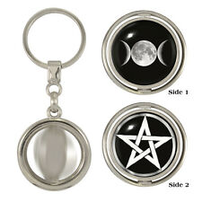 Triple Moon & Pentacle Spinning Keyring wiccan wicca occult pentagram witch NEW