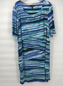 Connected Apparel Dress 20W Women's Plus Size Blue Striped New NWT