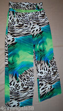 Womens Lounge Pants ANIMAL PRINT Wild Blue Aqua Green WIDE LEG M 8-10 Fold Down
