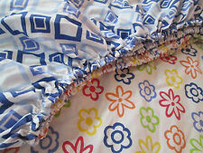 TWIN Fitted Sheet  Flowers GEOMETRIC Reversible Pattern  Vintage Cotton Blend