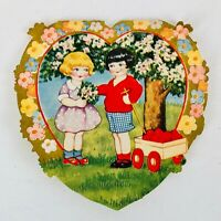 Vintage Art Deco Valentine Wagonload of Hearts Cute Children Whitney Made