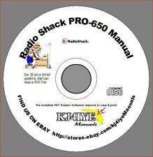 RadioShack PRO-650 CD OWNER'S MANUAL 2000-650 Radio Scanner CD MANUAL ONLY