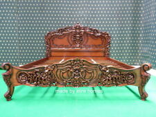 "USA STOCK  King size 76""x80"" Rococo designer baroque french style mahogany bed"