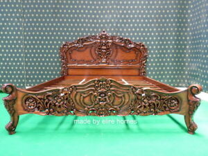 "USA STOCK  King size 76""x80"" Rococo designer baroque french style mahogany bed"