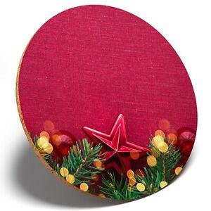 1 X Festive Christmas Stars Pine- Round Coaster Kitchen Student Kids Gift #15858